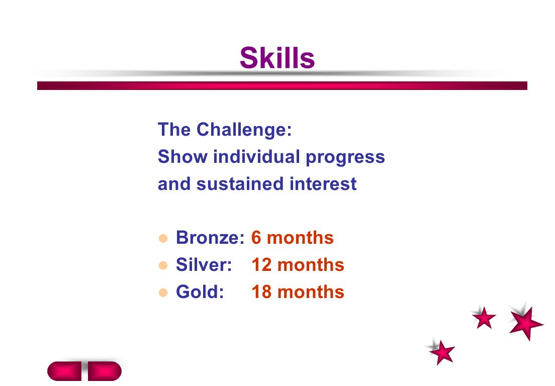 Skills The Challenge: Show individual progress and sustained interest