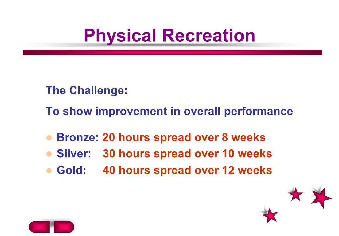 Physical Recreation The Challenge: