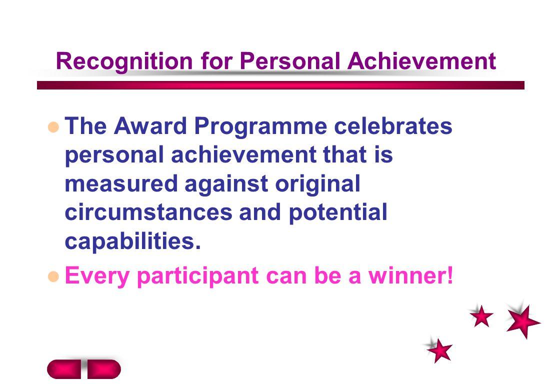 Recognition for Personal Achievement