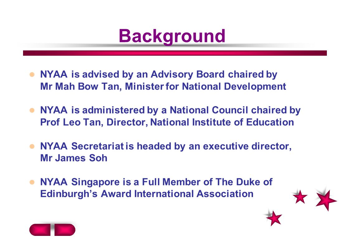 Background NYAA is advised by an Advisory Board chaired by Mr Mah Bow Tan, Minister for National Development.