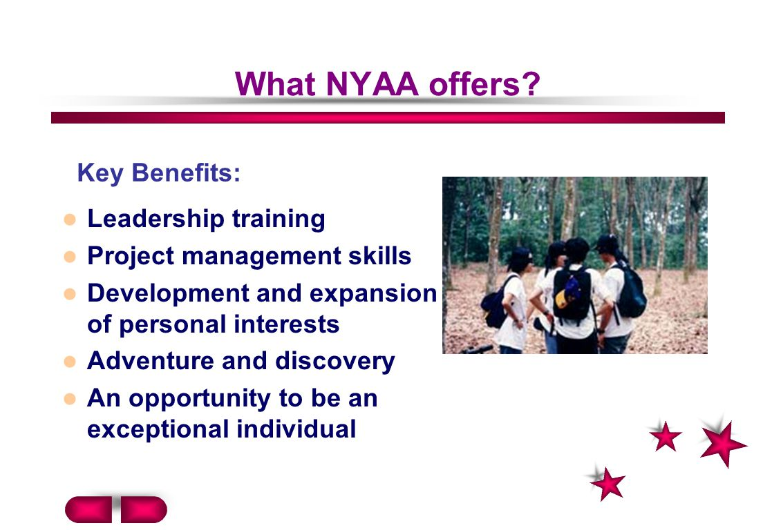 What NYAA offers Key Benefits: Leadership training