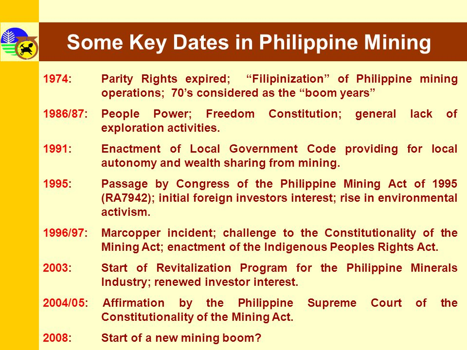 Some Key Dates in Philippine Mining