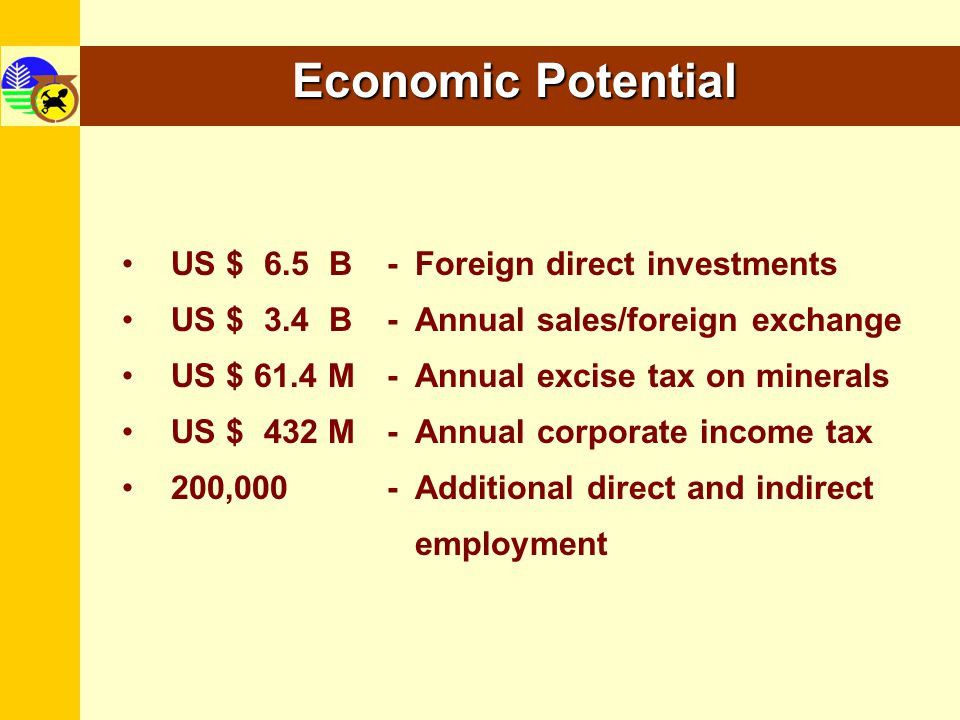 Economic Potential US $ 6.5 B - Foreign direct investments