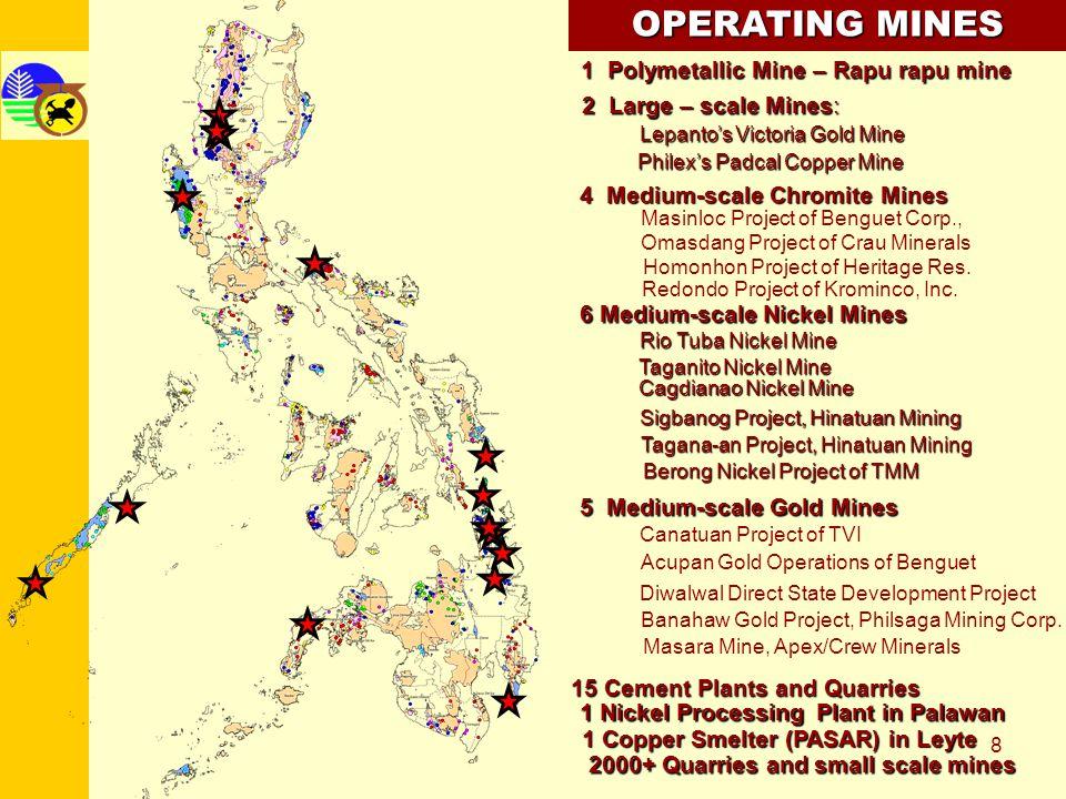 OPERATING MINES 1 Polymetallic Mine – Rapu rapu mine