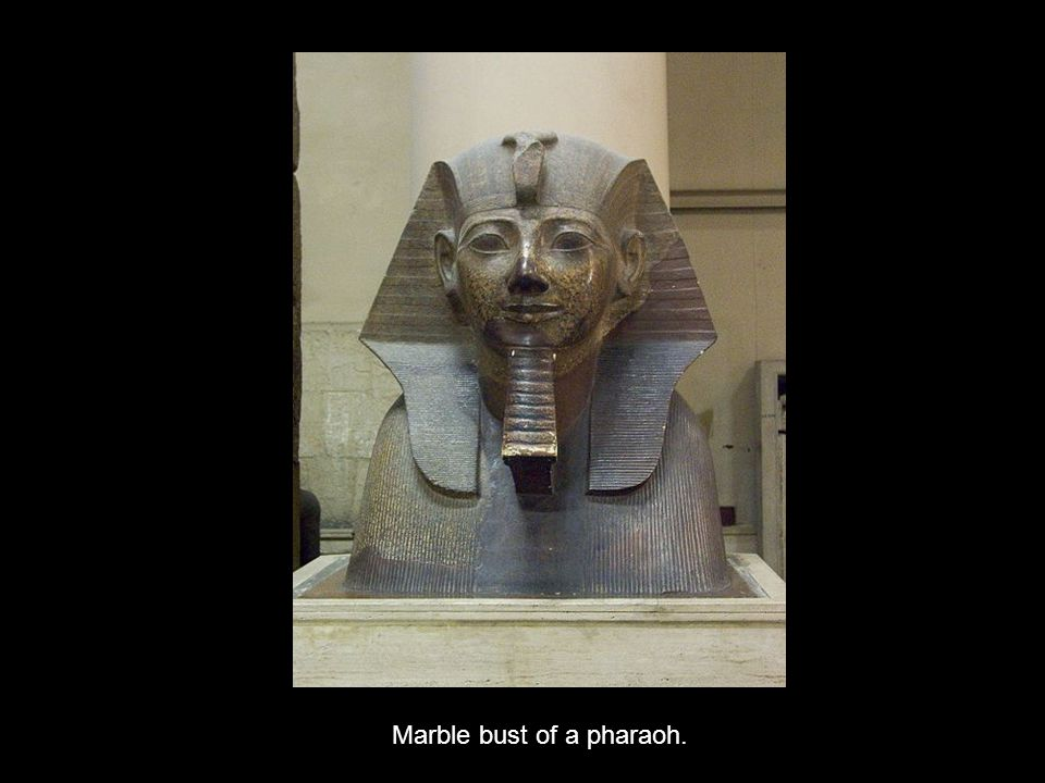 Marble bust of a pharaoh.