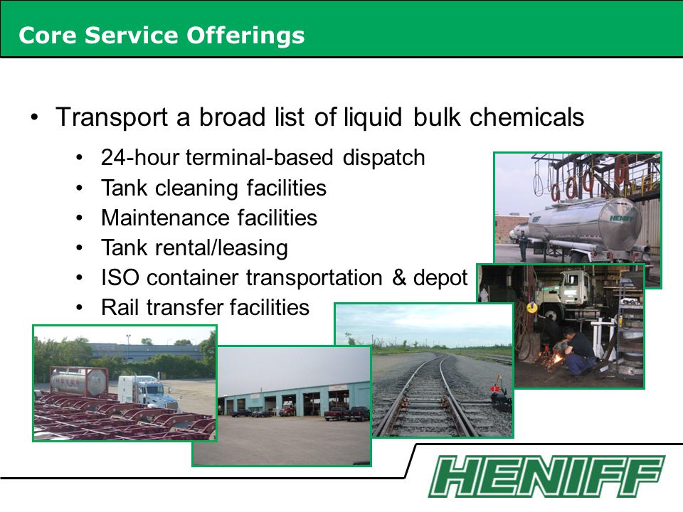 Transport a broad list of liquid bulk chemicals