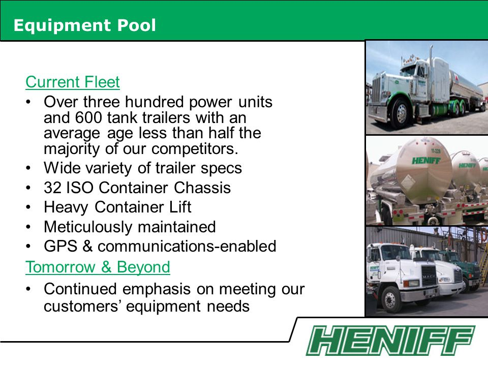 Equipment Pool Current Fleet.