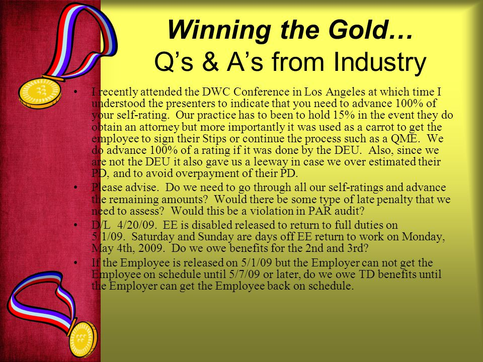 Winning the Gold… Q's & A's from Industry