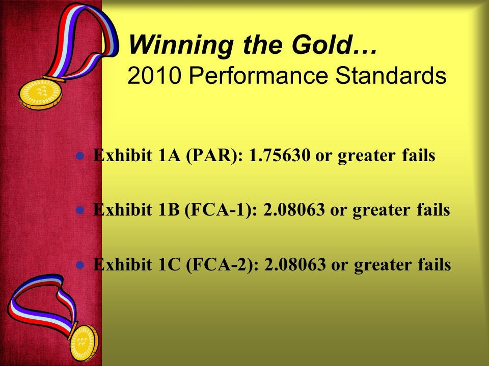 Winning the Gold… 2010 Performance Standards