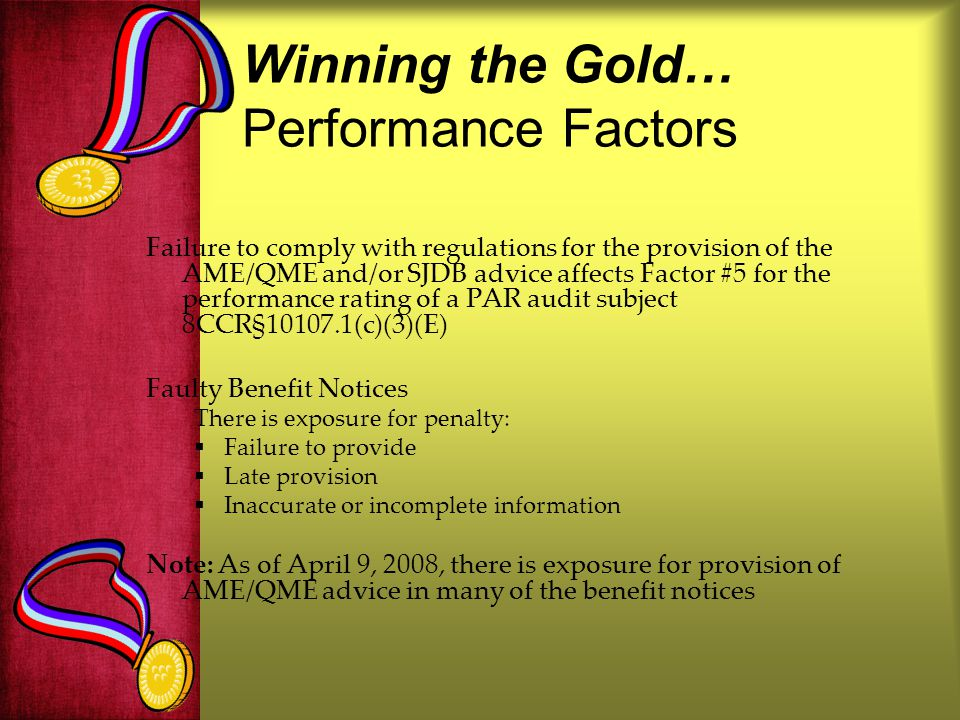 Winning the Gold… Performance Factors