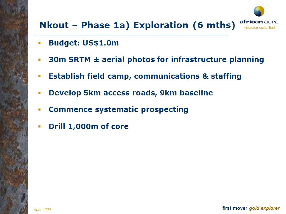 Nkout – Phase 1a) Exploration (6 mths)