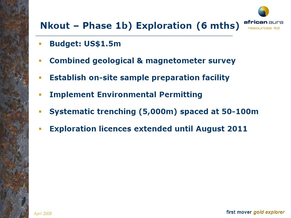 Nkout – Phase 1b) Exploration (6 mths)
