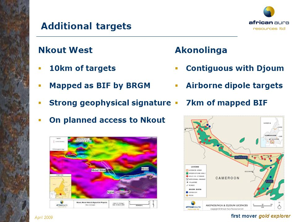 Additional targets Nkout West Akonolinga 10km of targets