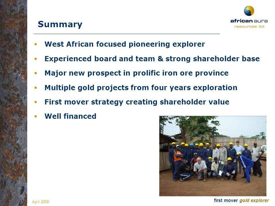 Summary West African focused pioneering explorer