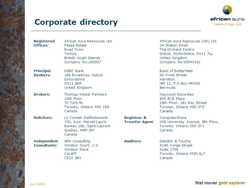 Corporate directory Registered Offices: