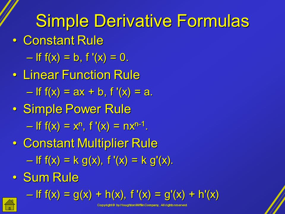 Simple Derivative Formulas