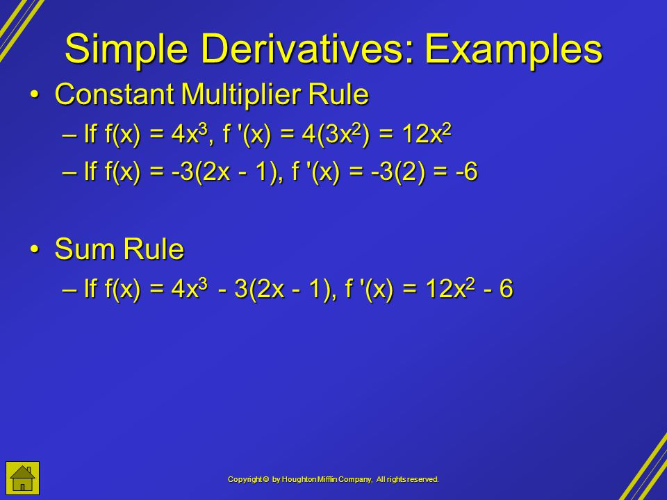 Simple Derivatives: Examples
