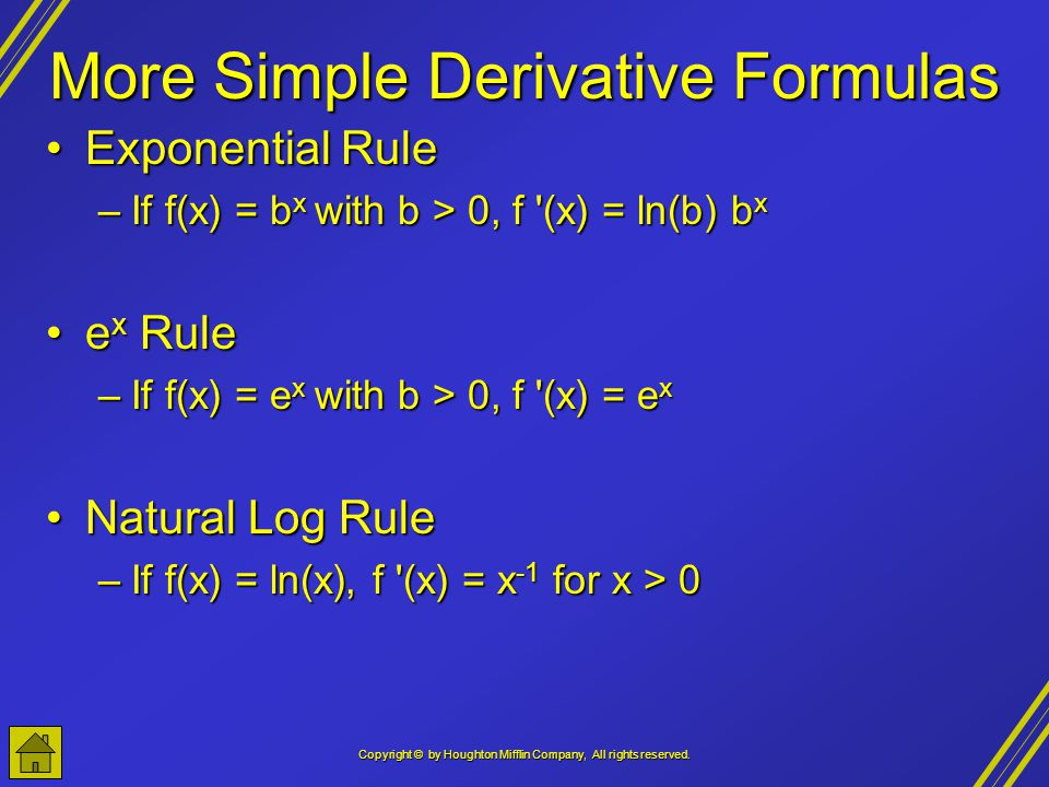 More Simple Derivative Formulas