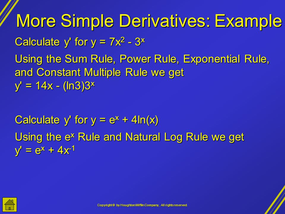 More Simple Derivatives: Example
