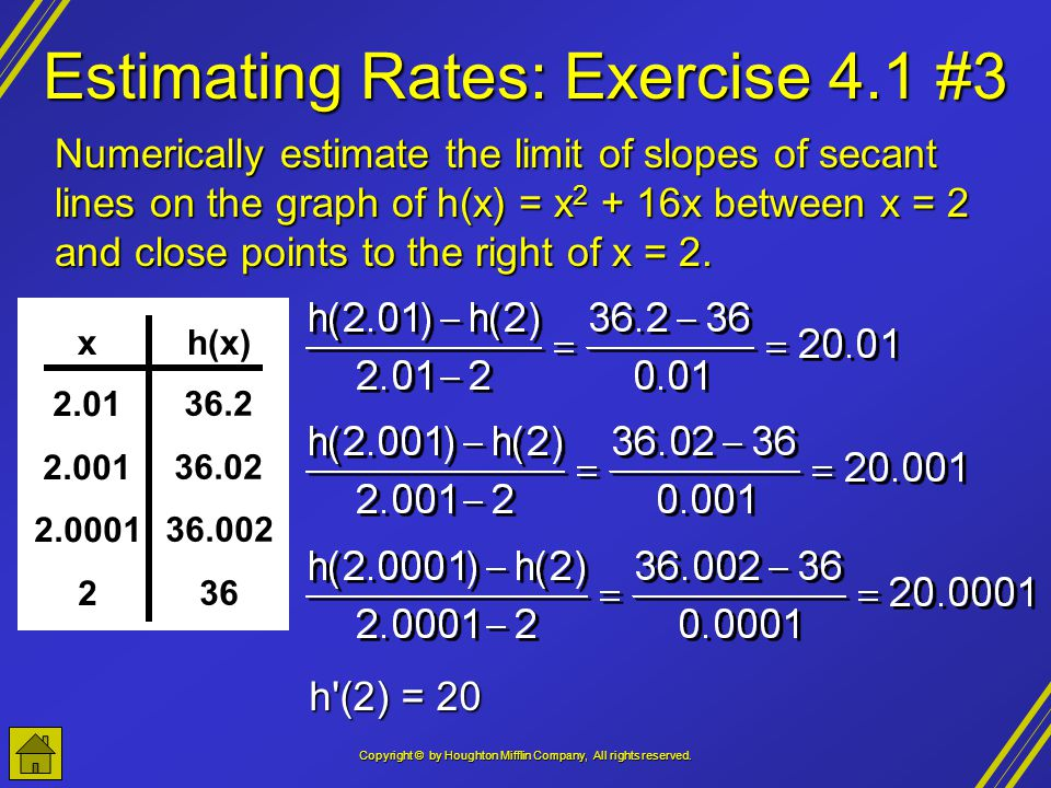 Estimating Rates: Exercise 4.1 #3