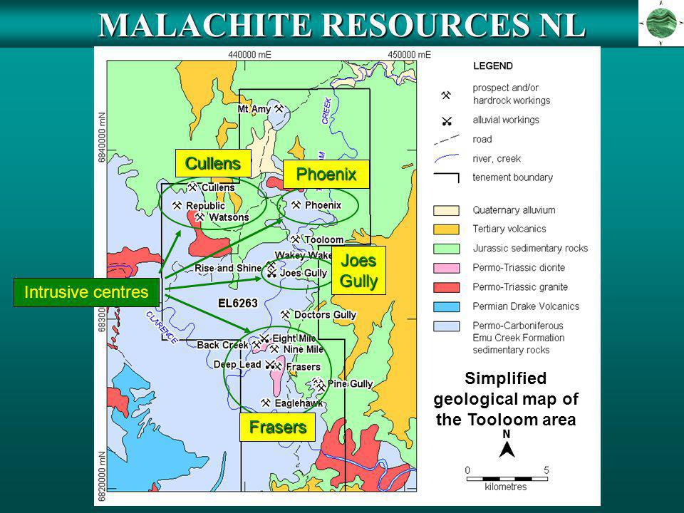MALACHITE RESOURCES NL Simplified geological map of the Tooloom area