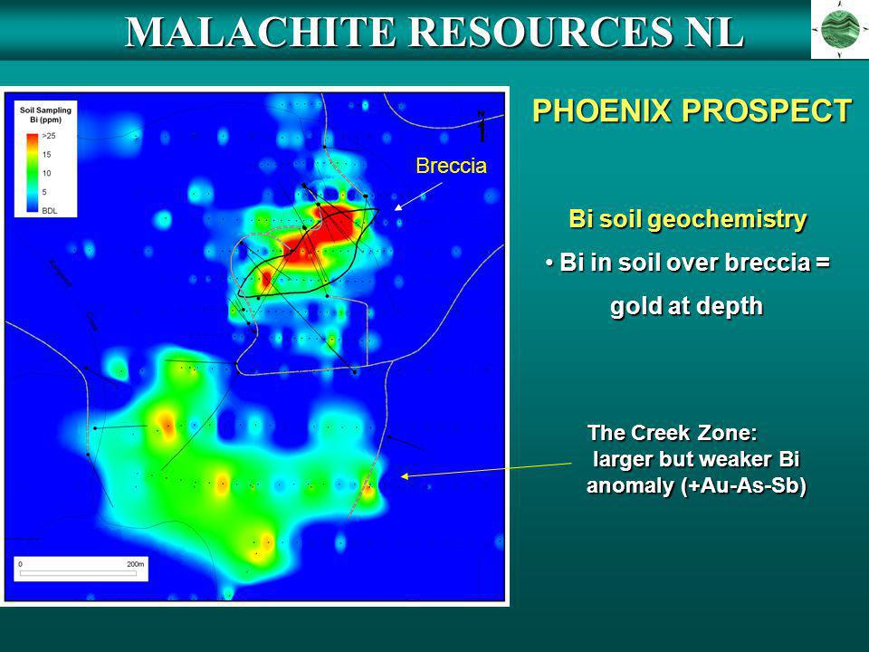 MALACHITE RESOURCES NL Bi in soil over breccia =