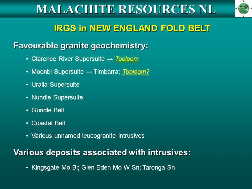 MALACHITE RESOURCES NL IRGS in NEW ENGLAND FOLD BELT