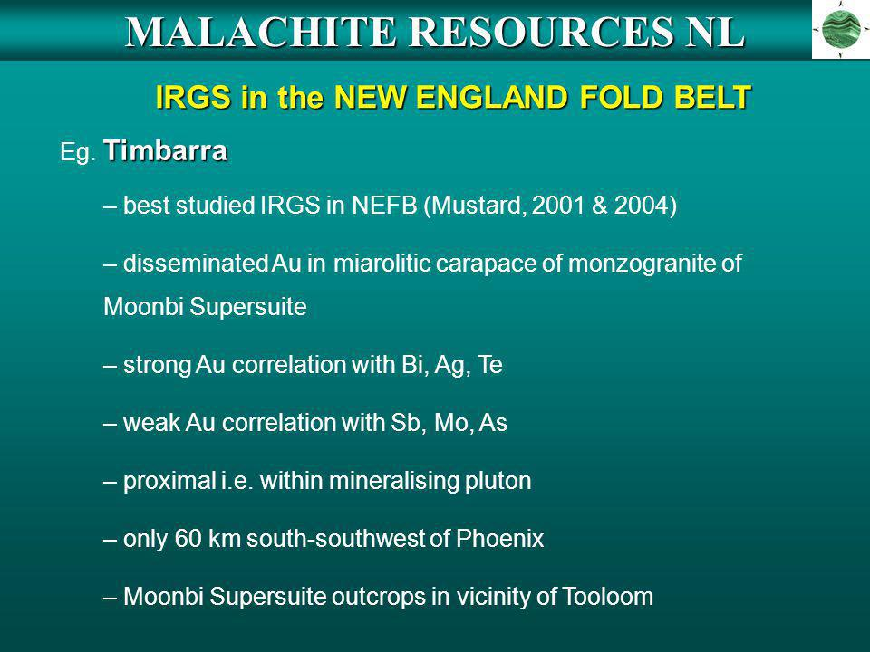 MALACHITE RESOURCES NL IRGS in the NEW ENGLAND FOLD BELT
