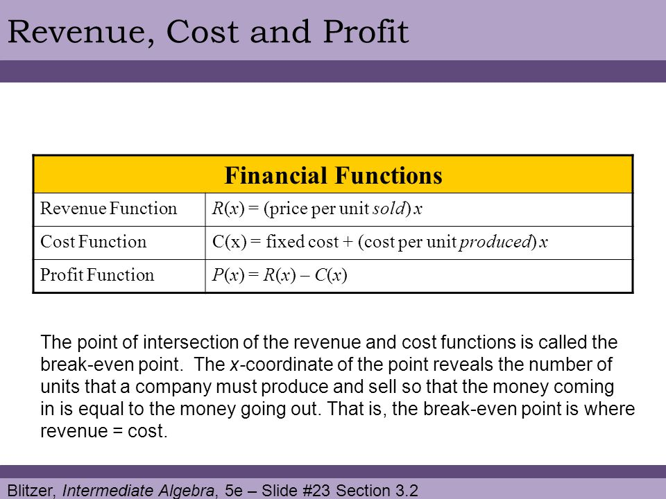 Revenue, Cost and Profit