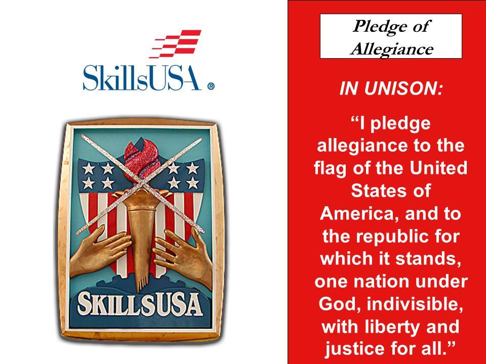 Pledge of Allegiance IN UNISON: