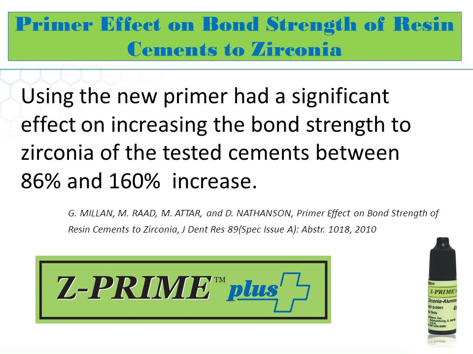 Primer Effect on Bond Strength of Resin Cements to Zirconia