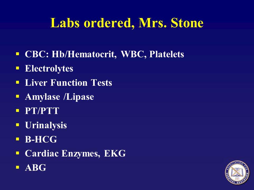 Labs ordered, Mrs. Stone CBC: Hb/Hematocrit, WBC, Platelets