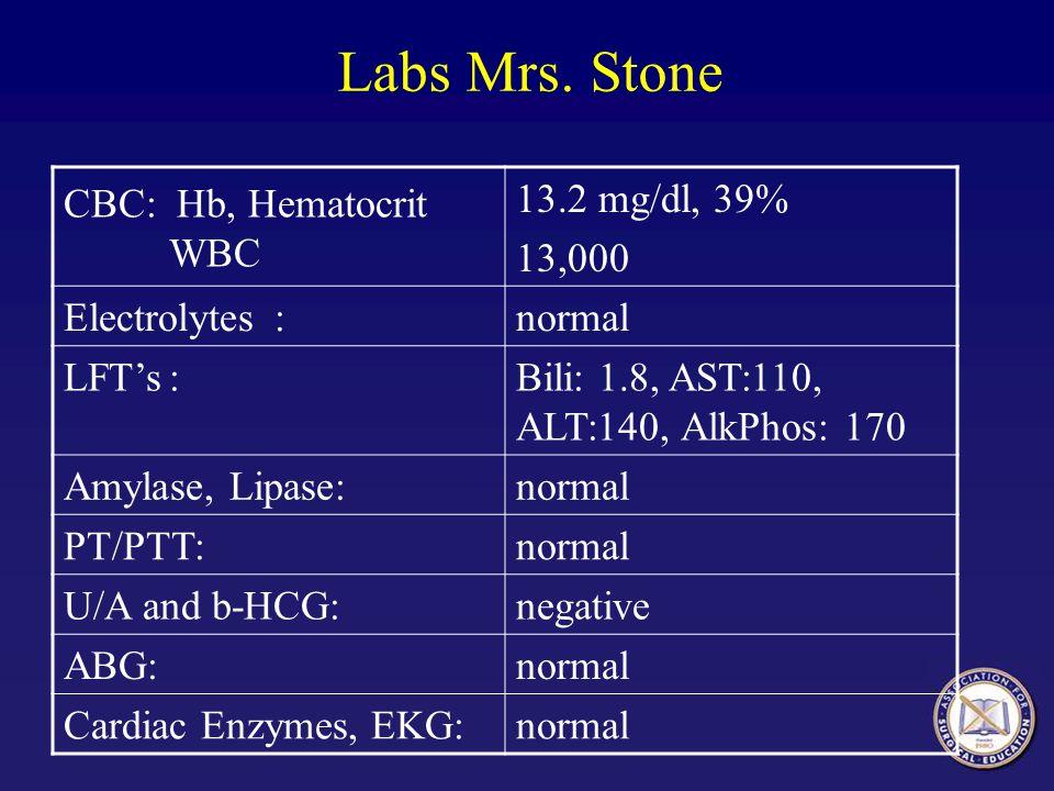 Labs Mrs. Stone CBC: Hb, Hematocrit WBC 13.2 mg/dl, 39% 13,000