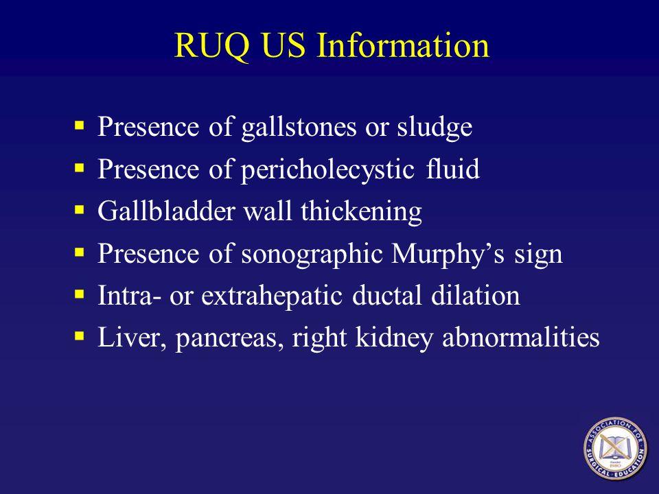 RUQ US Information Presence of gallstones or sludge