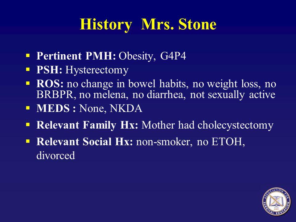 History Mrs. Stone Pertinent PMH: Obesity, G4P4 PSH: Hysterectomy