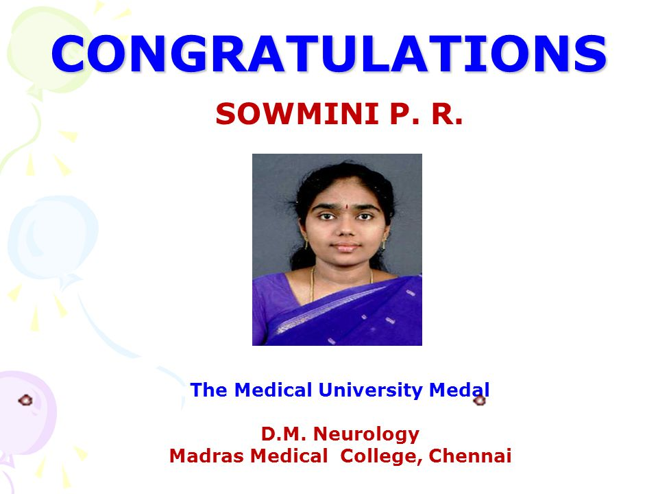 The Medical University Medal Madras Medical College, Chennai