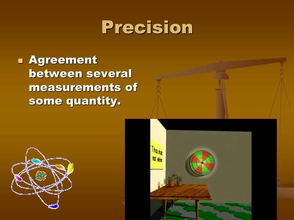Precision Agreement between several measurements of some quantity.