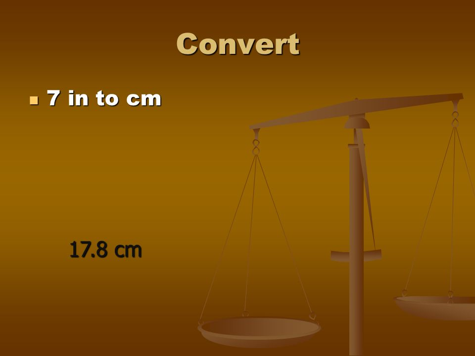 Convert 7 in to cm 17.8 cm