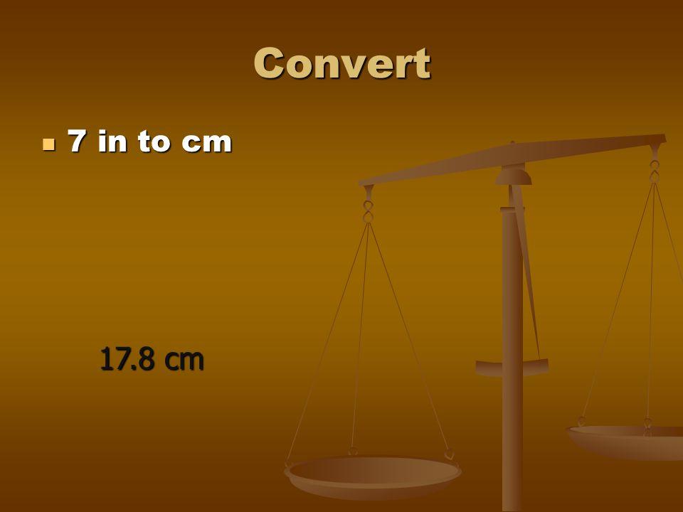 Convert 7 in to cm 17.8 cm