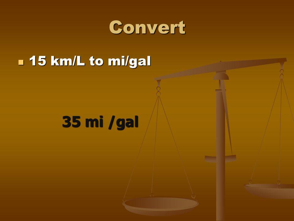 Convert 15 km/L to mi/gal 35 mi /gal