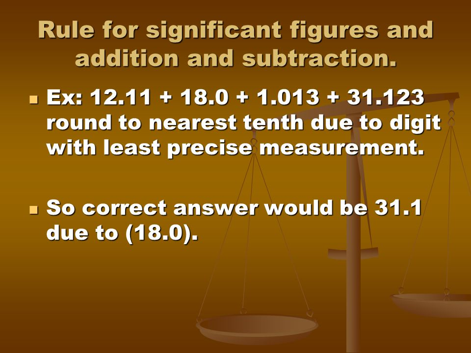Rule for significant figures and addition and subtraction.