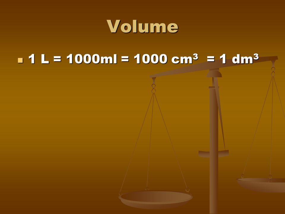 Volume 1 L = 1000ml = 1000 cm3 = 1 dm3