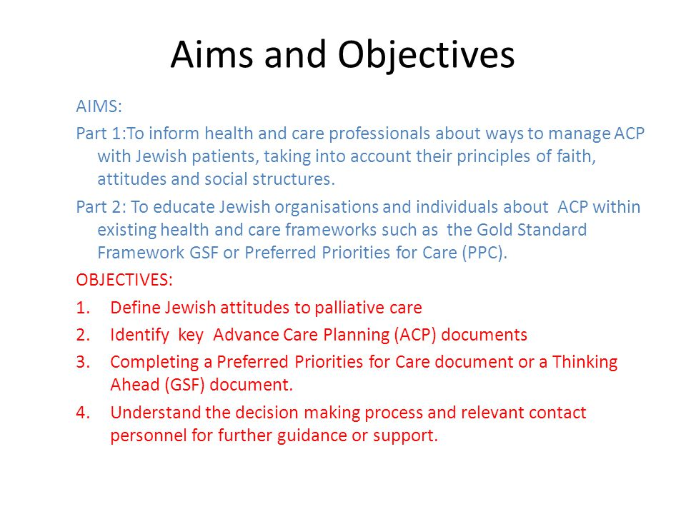 Aims and Objectives AIMS: