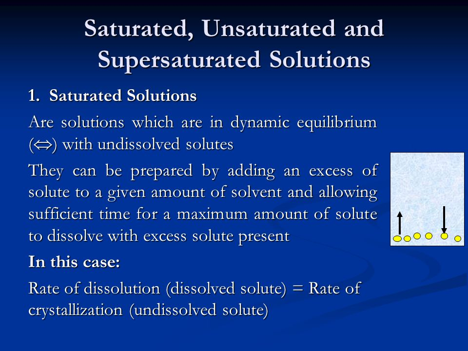 Saturated, Unsaturated and Supersaturated Solutions