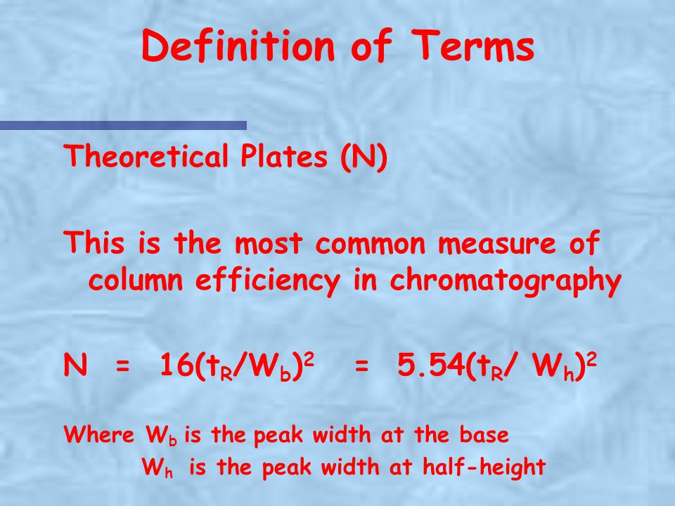 Definition of Terms Theoretical Plates (N)