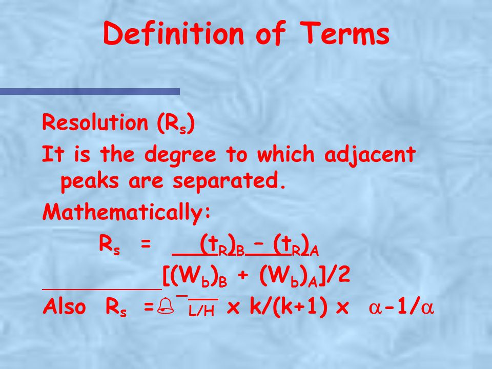 Definition of Terms Resolution (Rs)