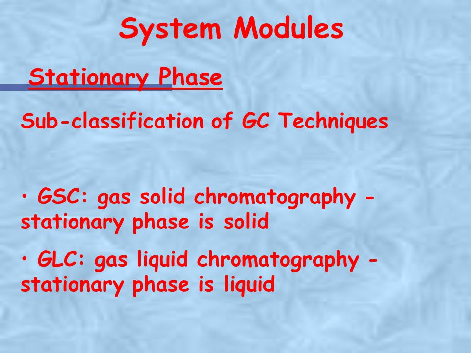 System Modules Stationary Phase Sub-classification of GC Techniques