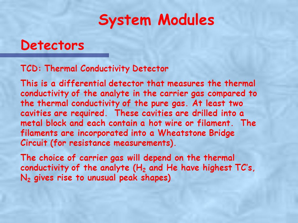 System Modules Detectors TCD: Thermal Conductivity Detector