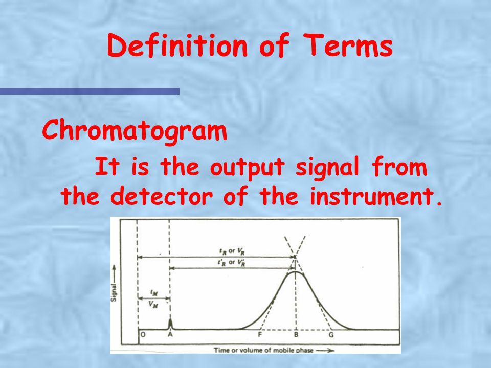 Definition of Terms Chromatogram