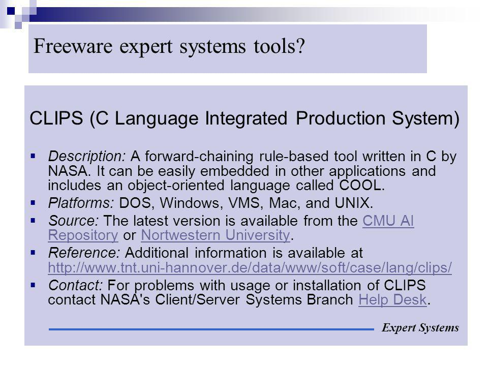 Freeware expert systems tools